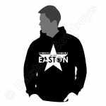 Easton Star, White on Black Hoodie